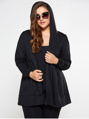 Outfits Zip Up Skirted Plus Size Hoodie BLACK 4XL