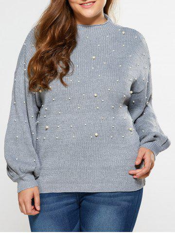 Loose Faux Pearl Embellished Sweater - Light Gray - Xl