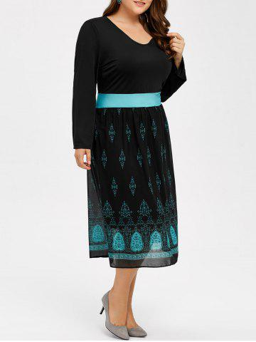 Cheap Printed V Neck Casual Midi Dress With Sleeve BLACK 3XL