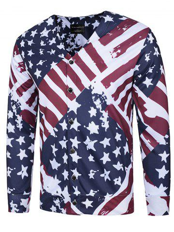 Shops Stars and Stripes Print V Neck Single Breasted Jacket