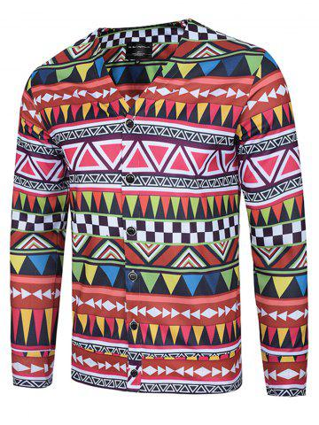 Hot Colorful Geometric Print V Neck Single Breasted Jacket COLORMIX 3XL