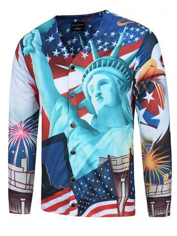 Shop 3D Statue of Liberty Print V Neck Single Breasted Jacket