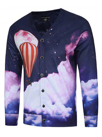 Chic 3D Fire Balloon Print V Neck Trippy Jacket