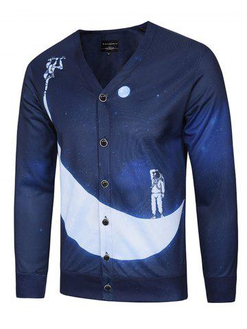Hot 3D Moon and Spaceman Print V Neck Single Breasted Jacket DEEP BLUE 3XL