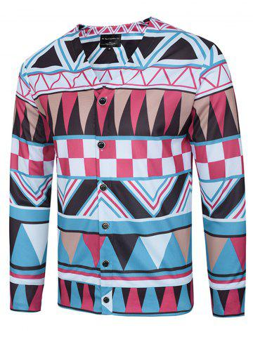 Store Colorful Geometric Printed V Neck Single Breasted Jacket