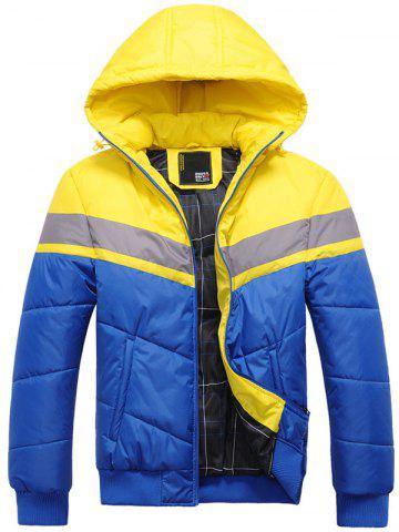Fancy Hooded Color Block Spliced Zip Up Thicken Padded Jacket