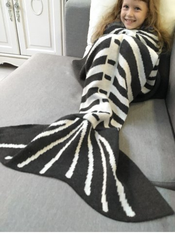 Chic Super Soft Knitted Fishbone Kids Wrap Halloween Mermaid Blanket and Throws - GREY AND WHITE  Mobile
