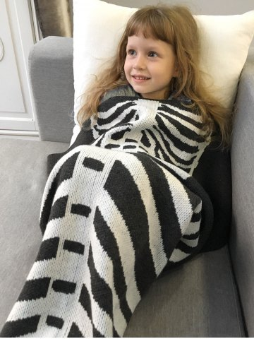 Latest Super Soft Knitted Fishbone Kids Wrap Halloween Mermaid Blanket and Throws - GREY AND WHITE  Mobile