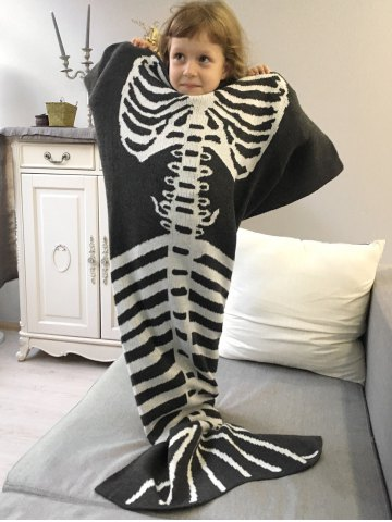 Sale Super Soft Knitted Fishbone Kids Wrap Halloween Mermaid Blanket and Throws - GREY AND WHITE  Mobile