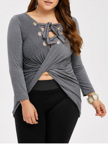Buy High Low Lace Up Tee LIGHT GRAY 3XL