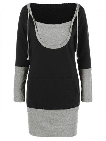 Outfit Drawstring Sheath Hooded Dress BLACK AND GREY M