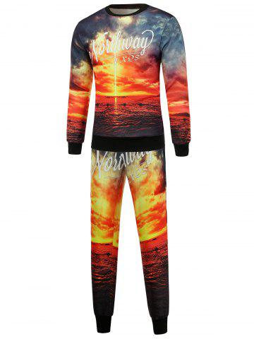 Shop Scenic Print Crew Neck Sweatshirt and Jogger Pants Twinset