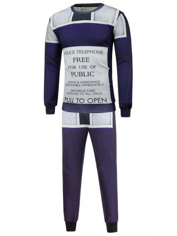 Cheap Crew Neck Graphic Sweatshirt and Jogger Pants Twinset