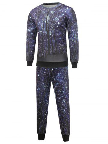 New Long Sleeve Galaxy Sweatshirt and Jogger Pants Twinset DEEP BLUE XL