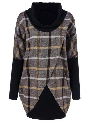 Outfits Cowl Neck Plaid Overlap Tee CHECKED L
