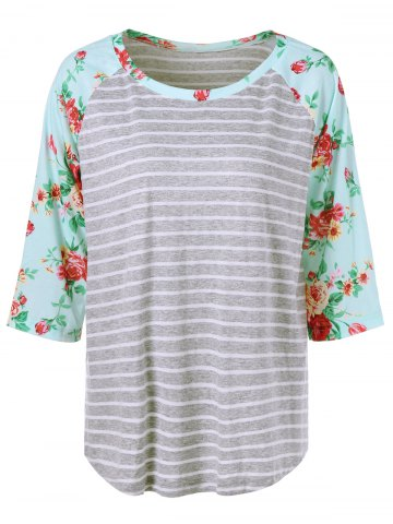 Best Plus Size Floral and Striped Tee STRIPE XL