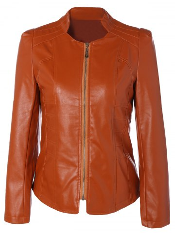 Chic Slim Fit Faux Leather Jacket ORANGE 3XL
