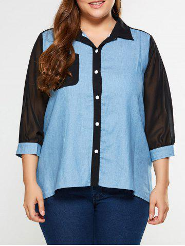 Buy Plus Size See Thru Chambray Shirt DENIM BLUE 5XL