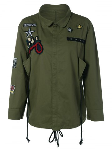 Fancy Patched Plus Size Jacket ARMY GREEN 5XL