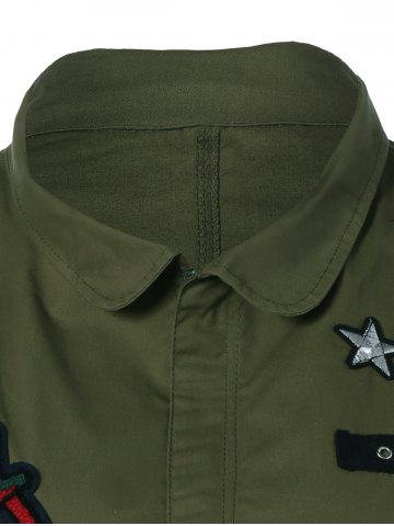 Unique Patched Plus Size Jacket - 4XL ARMY GREEN Mobile