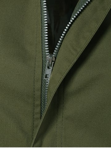 Best Patched Plus Size Jacket - 4XL ARMY GREEN Mobile