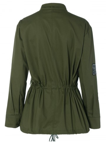 Buy Patched Plus Size Jacket - 4XL ARMY GREEN Mobile