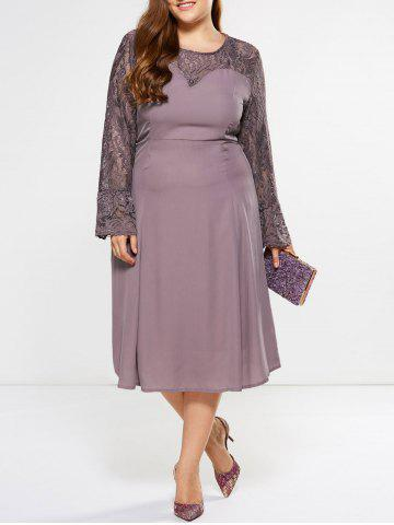 Latest Plus Size Bell Sleeve Lace Insert Dress SUEDE ROSE 5XL