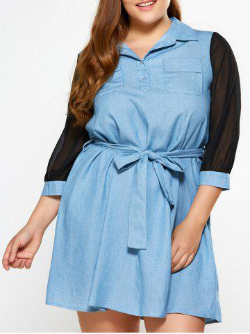 Affordable Plus Size See Thru Chambray Dress