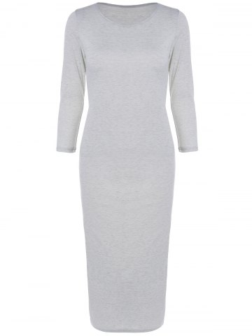 Shops Long Sleeve Slim Fitted Midi Dress