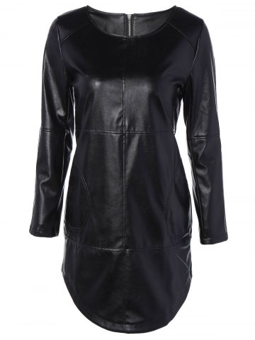 Latest Long Sleeve Faux Leather Mini Dress BLACK 2XL