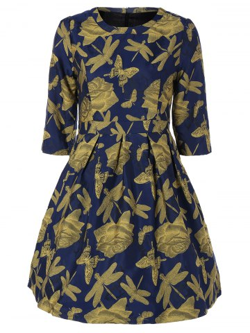 Butterfly Dragonfly Jacquard A Line Dress - Ginger - Xl