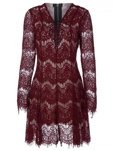 Outfits Fit and Flare Lace Up Mini Dress WINE RED 2XL