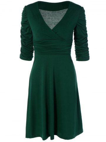 Buy Ruched V Neck Surplice A Line Dress GREEN XL