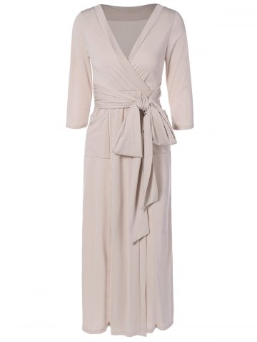 Chic V Neck Surplice Midi Dress NUDE 2XL