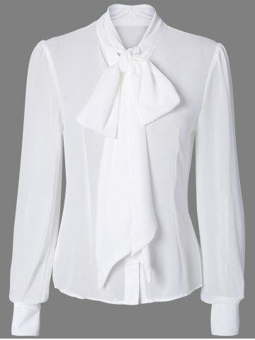 Store Pussy Bow Semi Sheer Blouse WHITE 2XL