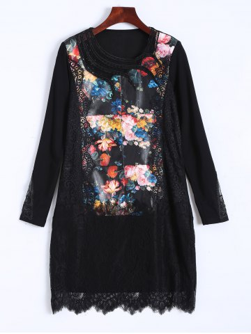 Affordable PU Lace Insert Floral Print Dress