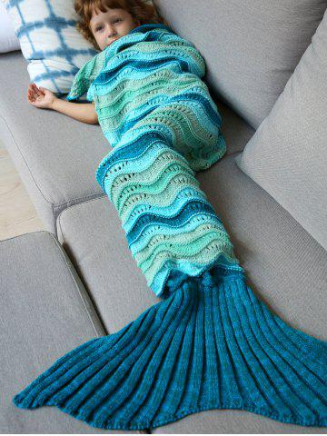 Sale Knitted Open Work Color Splicing Mermaid Blanket and Throws For Kid COLORMIX