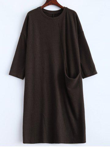 Latest Slouchy Jumper Dress with Pocket COFFEE M