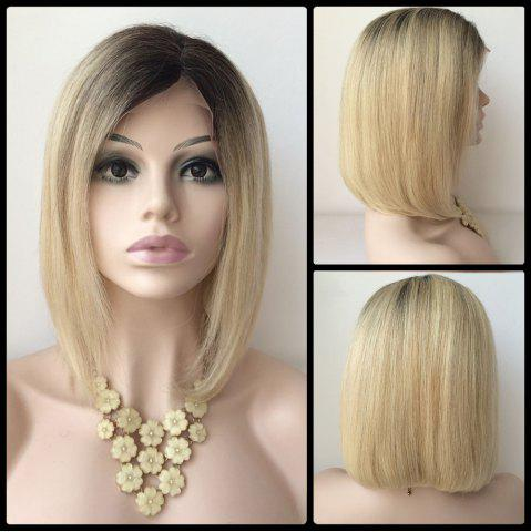 Fancy Black Ombre Blonde Lace Front Bob Hairstyle Human Hair Wig - COLORMIX  Mobile