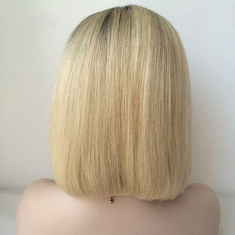 Hot Black Ombre Blonde Lace Front Bob Hairstyle Human Hair Wig - COLORMIX  Mobile