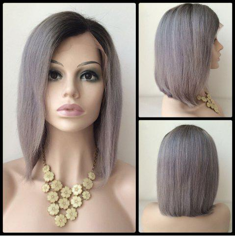 Bob Hairstyle Side Parting Short Lace Front Human Hair Wig - COLORMIX