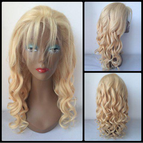 Best Fluffy Long Curly Lace Front 100 Percent Human Hair Wig GOLDEN