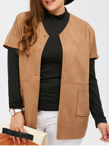 Online Suede Short Sleeves Jacket with Mock Neck Tee CAMEL 5XL