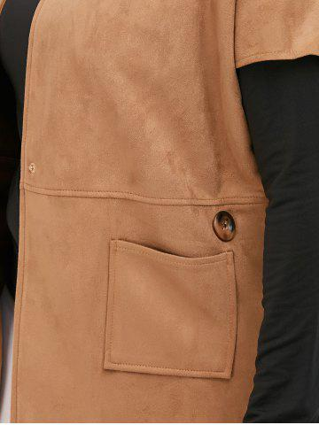 Shops Suede Short Sleeves Jacket with Mock Neck Tee - 5XL CAMEL Mobile