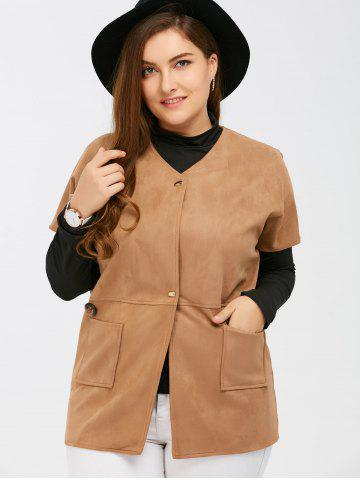Affordable Suede Short Sleeves Jacket with Mock Neck Tee - 5XL CAMEL Mobile