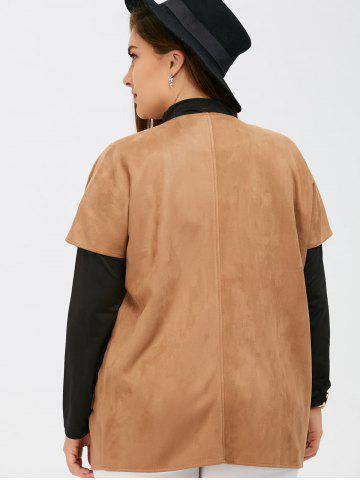 Fashion Suede Short Sleeves Jacket with Mock Neck Tee - 5XL CAMEL Mobile