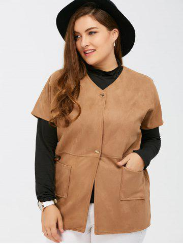 Discount Suede Short Sleeves Jacket with Mock Neck Tee - 5XL CAMEL Mobile
