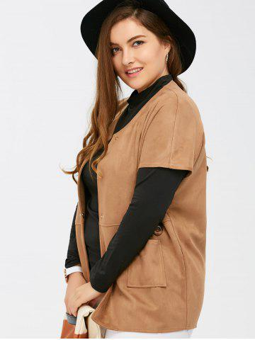 Unique Suede Short Sleeves Jacket with Mock Neck Tee - 5XL CAMEL Mobile