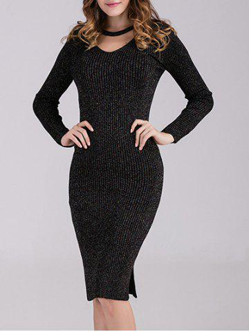 Trendy Bodycon Ribbed Long Sleeve Dress