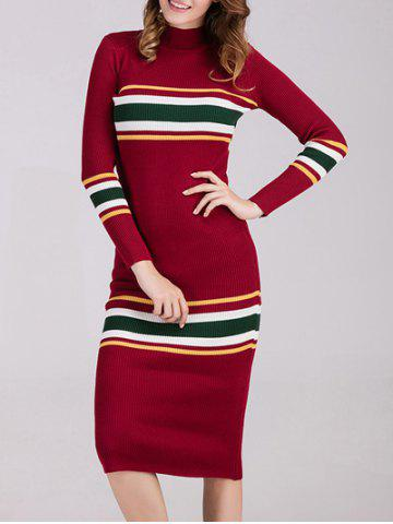 High Neck Long Sleeves Knit Striped Jumper Dress - RED ONE SIZE